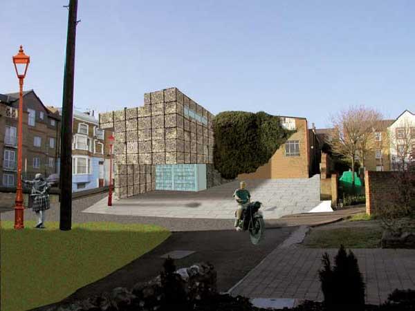 Das Gebäude fügt sich in seinem Volumen in die Umgebung ein und bringt durch seine Materialität die natürliche Umgebung in die Stadt.