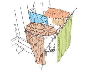 Durch den Einzug orientalischer Zelt-Symbolik ins Wohnzimmer der Wiener Kaffeehauskultur bieten sich Möglichkeiten der Kombinatorik und Abstufungen der Zurückgezogenheit, die das bestehende Ensemble ergänzen sollen. Zugleich erfährt die stiefmütterliche Eckbank der Loge eine neue Interpretation.