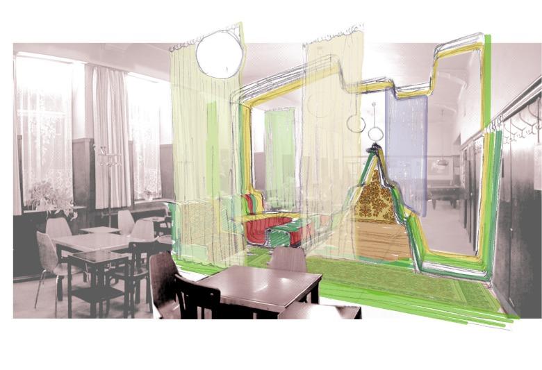 Symbolisch: Der Vorhang erfährt eine Transformation in Kombination mit der orientalischen Ästhetik und Bildsprache. Programmatisch: Raum-in-Raum tageszeitabhängige Kinderspielzone oder Kuschelecke