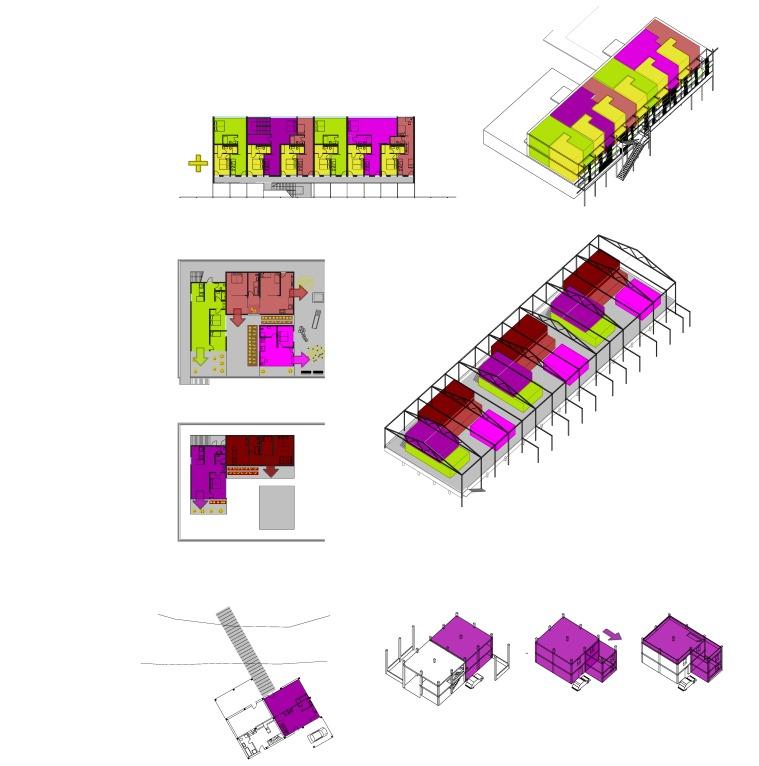 Umbau des kaum genutzten Hotels zu flexiblen Wohnungen Erweiterbare Wohnkörper am Flachdach des Einkaufszentrums Zentrumsnahe Wohnbebauung am Fluß