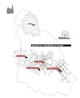 """Anhand des """"Querschnittsbezirkes"""" Landstraße, der sich aufgrund seiner Lage, Ausdehnung und sozialen Durchmischt-heit als Laborgebiet gut eignet, wird eine programmatische Verteilung von Pflegeeinrichtungen und auf Nutzerdurchmischung ausgelegte gemeinschaftlichen Einrichtungen durchgeführt."""