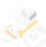 Die Obergeschosse des Neubaus sind auf optimale Belichtung ausgerichtet. Von der Topographie des neu geschaffenen, öffentlichen Erdgeschoßbereichs lassen sich angrenzende Gebäude im ersten Stock erschliessen.