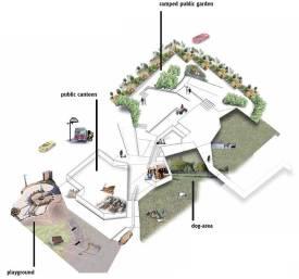 Die Programmierung des Freiraumes im Erdgeschoss zielt auf eine Verknüpfung mit dem umliegenden Stadtraum ab